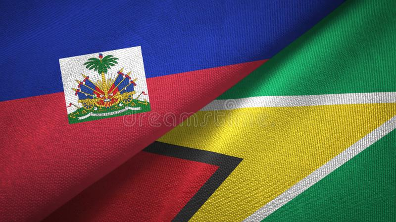 Torkduk f?r Haiti och Guyana tv? flaggatextil, tygtextur royaltyfri foto