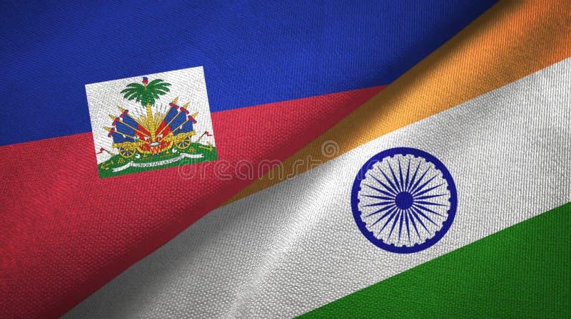 Torkduk f?r Haiti och Indien tv? flaggatextil, tygtextur arkivbilder