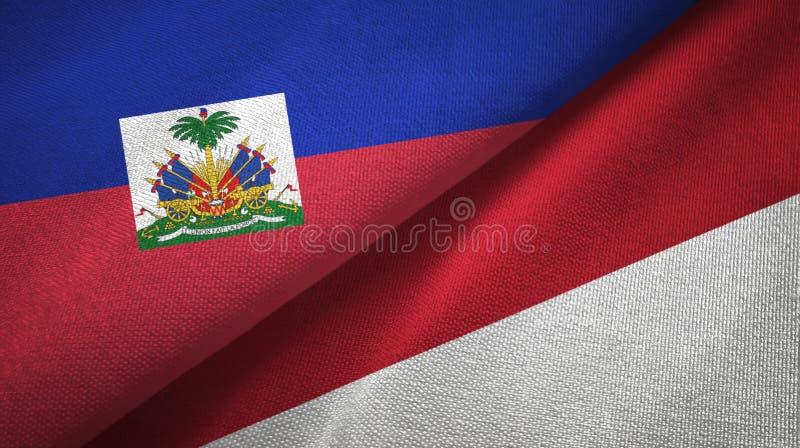 Torkduk f?r Haiti och Indonesien tv? flaggatextil, tygtextur royaltyfri bild