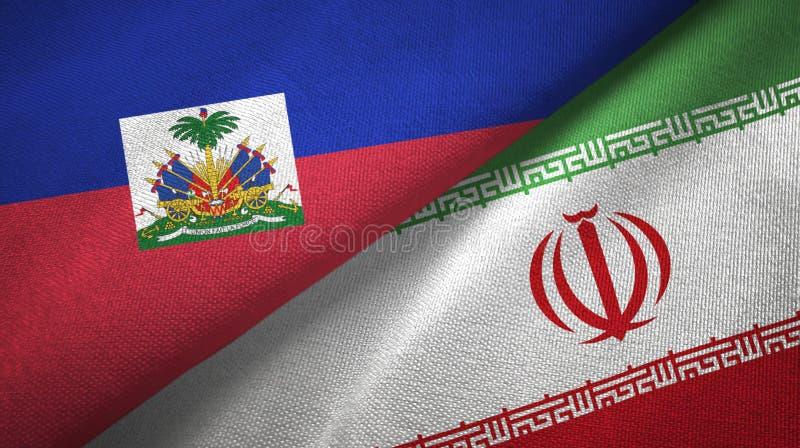 Torkduk f?r Haiti och Iran tv? flaggatextil, tygtextur royaltyfria bilder