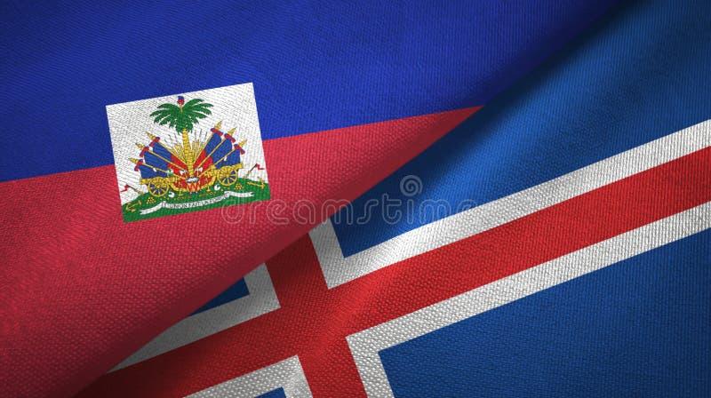 Torkduk f?r Haiti och Island tv? flaggatextil, tygtextur royaltyfri bild