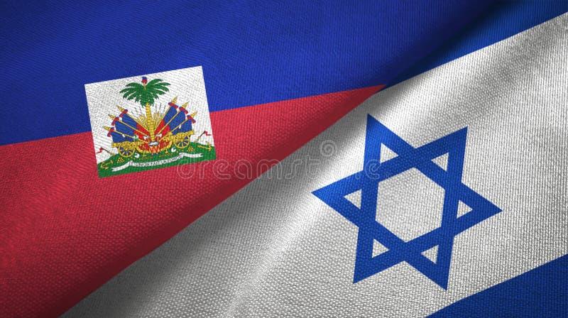 Torkduk f?r Haiti och Israel tv? flaggatextil, tygtextur arkivbild