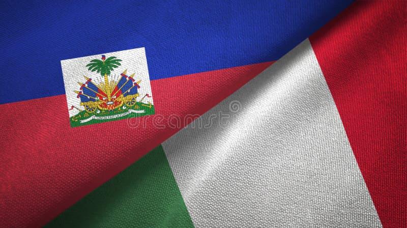 Torkduk f?r Haiti och Italien tv? flaggatextil, tygtextur fotografering för bildbyråer