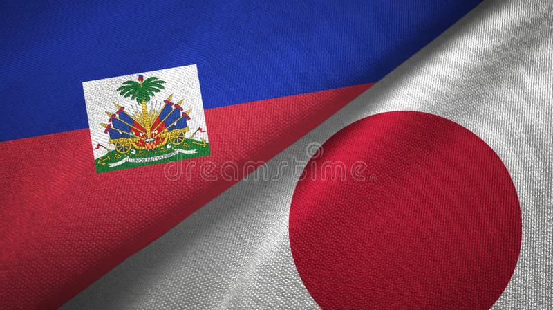 Torkduk f?r Haiti och Japan tv? flaggatextil, tygtextur royaltyfri bild