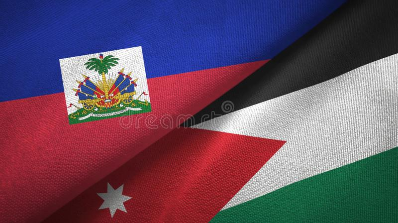 Torkduk f?r Haiti och f?r Jordanien tv? flaggatextil, tygtextur royaltyfria bilder