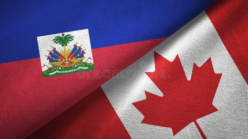 Torkduk f?r Haiti och Kanada tv? flaggatextil, tygtextur royaltyfri bild