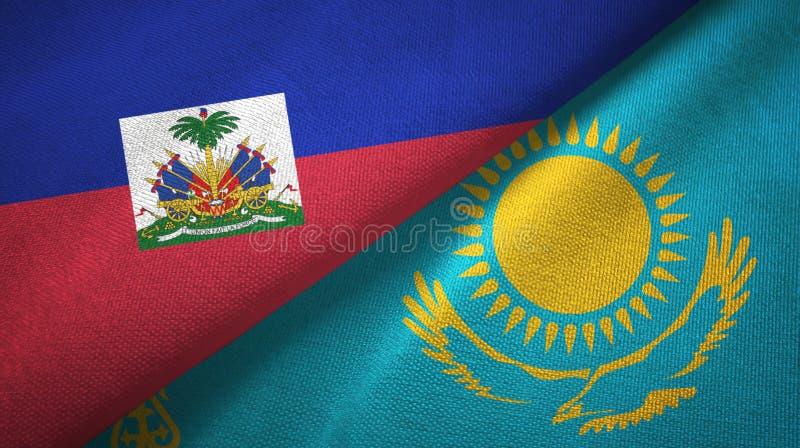 Torkduk f?r Haiti och Kasakhstan tv? flaggatextil, tygtextur arkivfoton