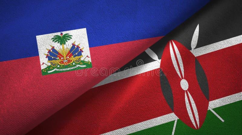 Torkduk f?r Haiti och Kenya tv? flaggatextil, tygtextur arkivfoton