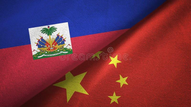 Torkduk f?r Haiti och Kina tv? flaggatextil, tygtextur royaltyfri bild