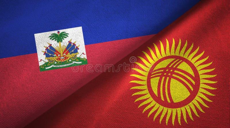 Torkduk f?r Haiti och f?r Kirgizistan tv? flaggatextil, tygtextur arkivfoto