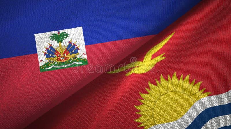 Torkduk f?r Haiti och Kiribati tv? flaggatextil, tygtextur royaltyfri fotografi