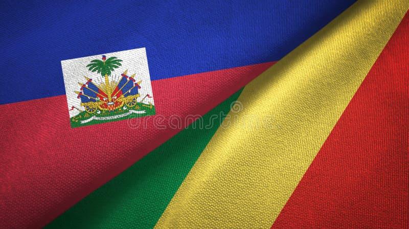 Torkduk f?r Haiti och f?r Kongofloden tv? flaggatextil, tygtextur royaltyfria bilder