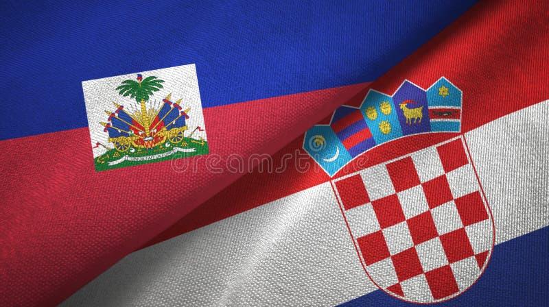 Torkduk f?r Haiti och f?r Kroatien tv? flaggatextil, tygtextur arkivfoton
