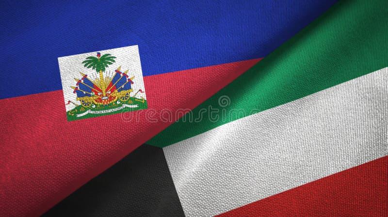 Torkduk f?r Haiti och Kuwait tv? flaggatextil, tygtextur fotografering för bildbyråer