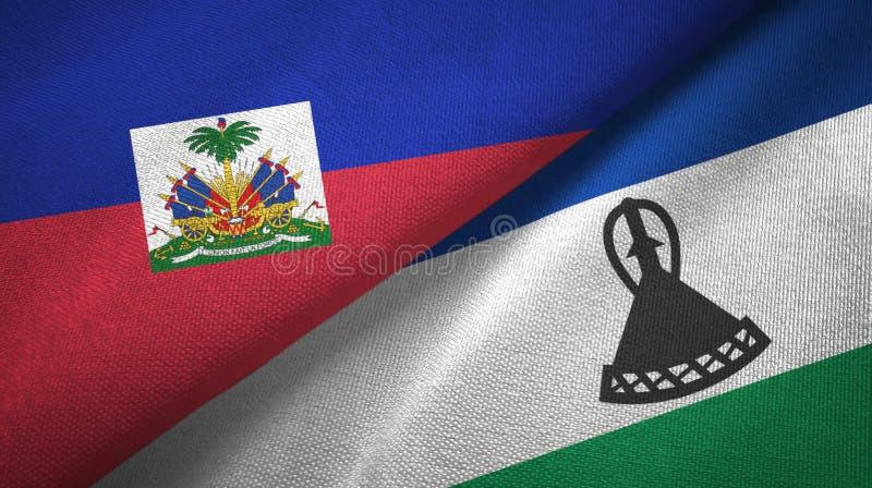 Torkduk f?r Haiti och Lesotho tv? flaggatextil, tygtextur arkivbild