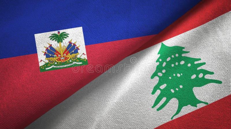 Torkduk f?r Haiti och Libanon tv? flaggatextil, tygtextur royaltyfria bilder