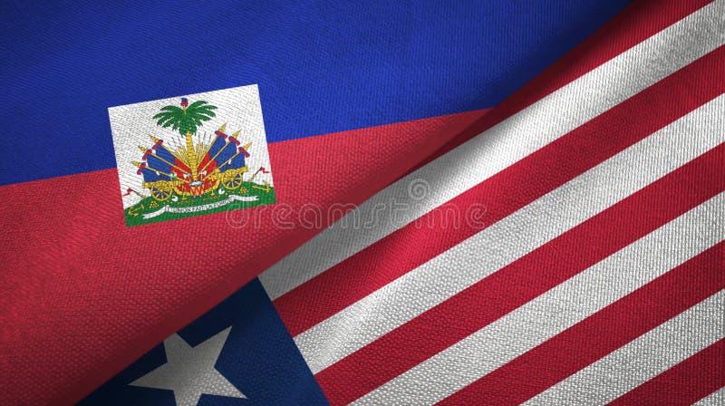 Torkduk f?r Haiti och Liberia tv? flaggatextil, tygtextur fotografering för bildbyråer