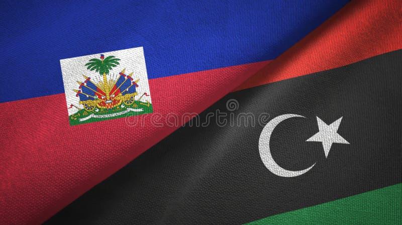 Torkduk f?r Haiti och Libyen tv? flaggatextil, tygtextur royaltyfri bild