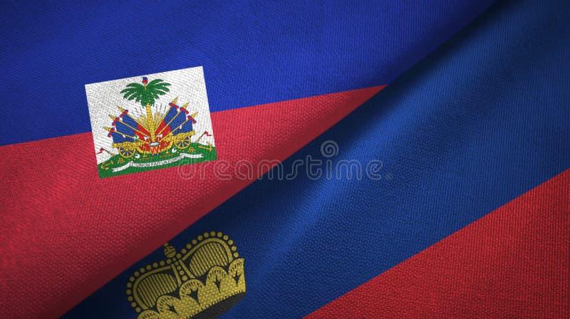 Torkduk f?r Haiti och Liechtenstein tv? flaggatextil, tygtextur royaltyfri foto