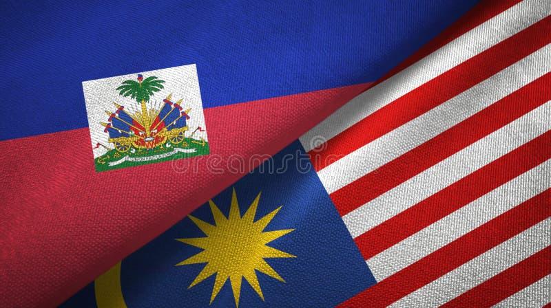 Torkduk f?r Haiti och Malaysia tv? flaggatextil, tygtextur arkivfoto