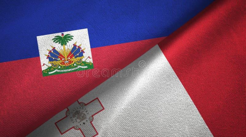 Torkduk f?r Haiti och Malta tv? flaggatextil, tygtextur fotografering för bildbyråer