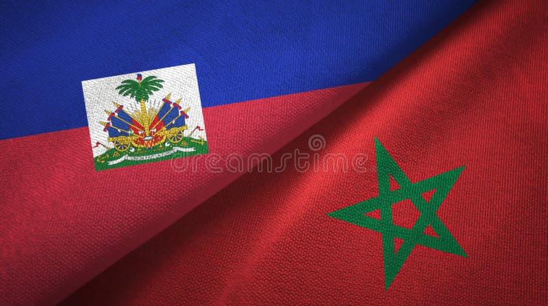 Torkduk f?r Haiti och Marocko tv? flaggatextil, tygtextur fotografering för bildbyråer