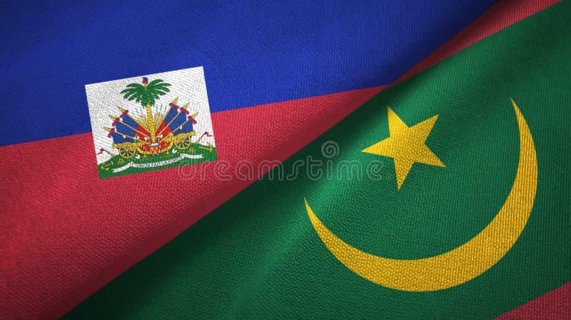 Torkduk f?r Haiti och Mauretanien tv? flaggatextil, tygtextur arkivfoto
