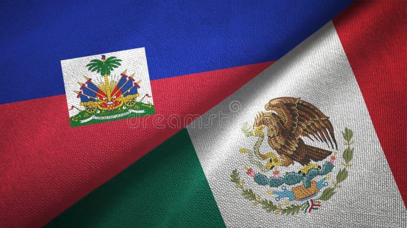 Torkduk f?r Haiti och Mexico tv? flaggatextil, tygtextur arkivfoto