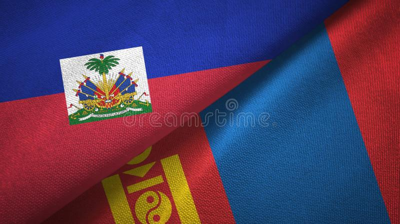 Torkduk f?r Haiti och Mongoliet tv? flaggatextil, tygtextur arkivbilder