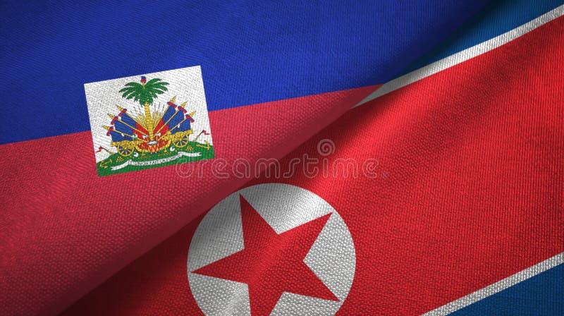 Torkduk f?r Haiti och Nordkorea tv? flaggatextil, tygtextur arkivbild