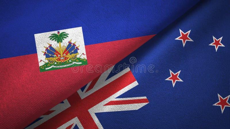Torkduk f?r Haiti och Nya Zeeland tv? flaggatextil, tygtextur arkivbilder