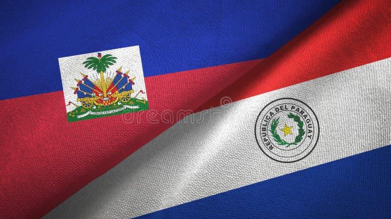 Torkduk f?r Haiti och Paraguay tv? flaggatextil, tygtextur fotografering för bildbyråer