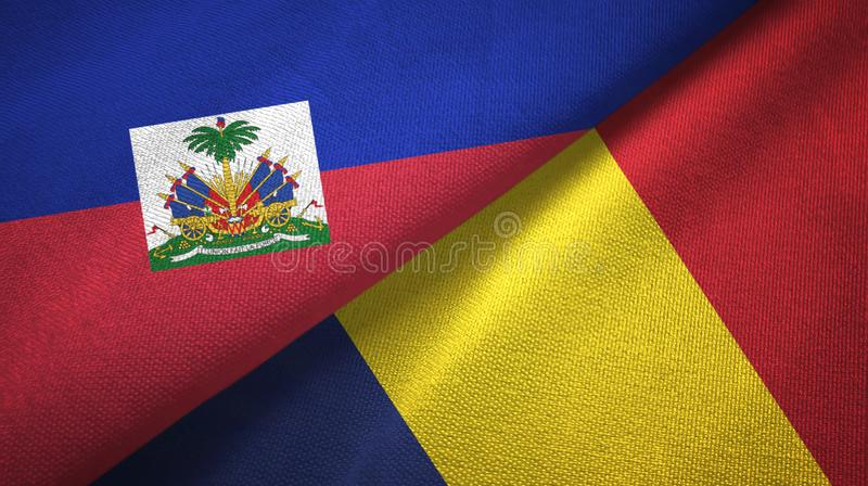 Torkduk f?r Haiti och Tchad tv? flaggatextil, tygtextur royaltyfri foto