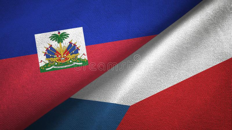 Torkduk f?r Haiti och f?r Tjeckien tv? flaggatextil, tygtextur fotografering för bildbyråer