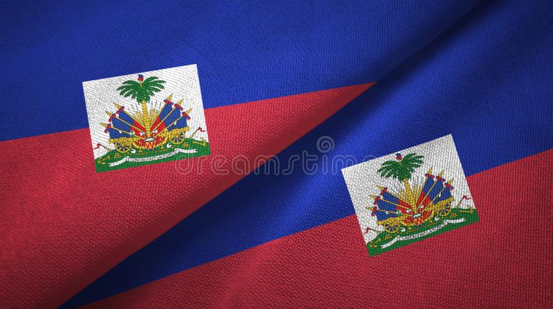 Torkduk f?r Haiti tv? flaggatextil, tygtextur royaltyfri bild