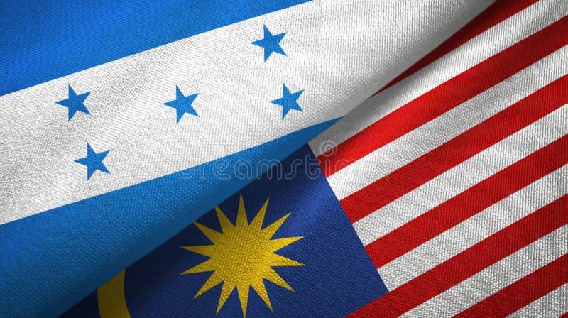 Torkduk för Honduras och Malaysia två flaggatextil, tygtextur stock illustrationer