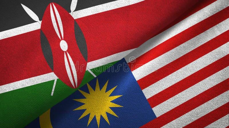 Torkduk för Kenya och Malaysia två flaggatextil, tygtextur royaltyfri illustrationer