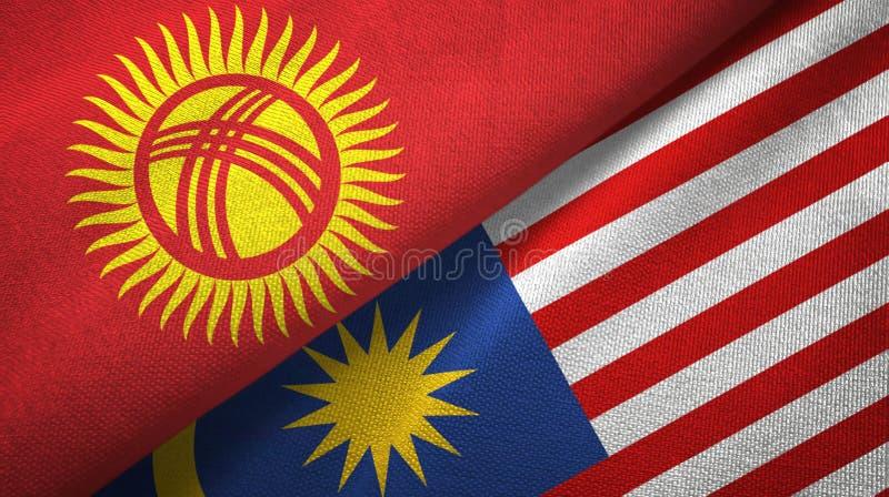 Torkduk för Kirgizistan- och Malaysia två flaggatextil, tygtextur stock illustrationer
