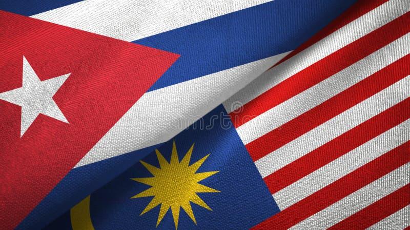 Torkduk för Kuba- och Malaysia två flaggatextil, tygtextur stock illustrationer