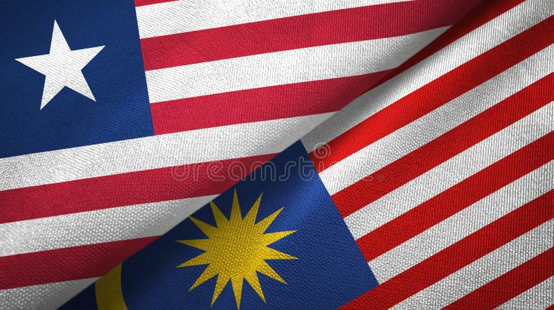 Torkduk f?r Liberia och Malaysia tv? flaggatextil, tygtextur stock illustrationer