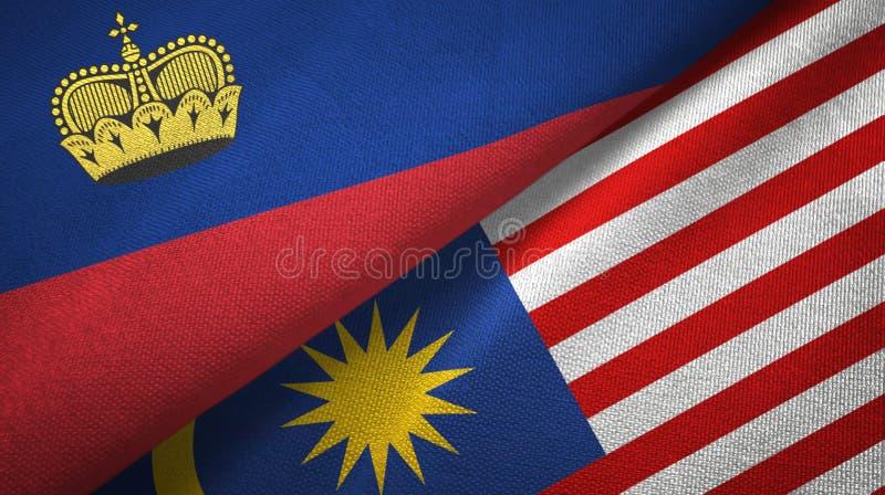 Torkduk för Liechtenstein och Malaysia två flaggatextil, tygtextur vektor illustrationer
