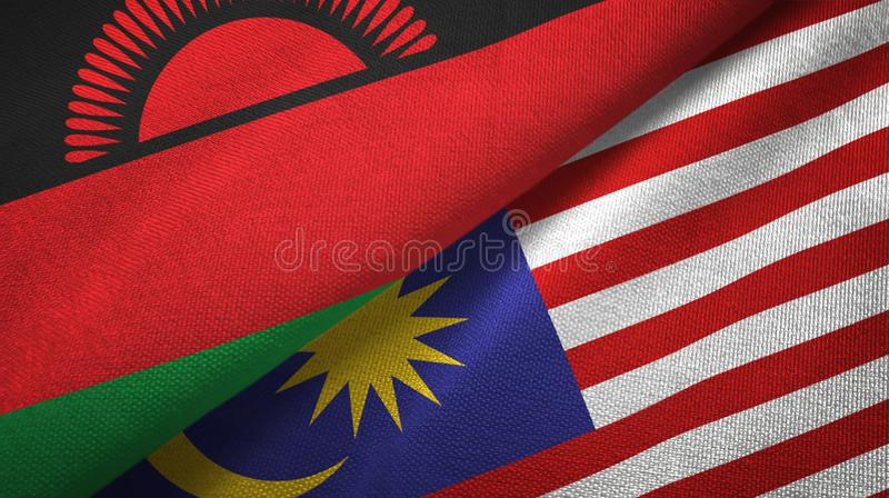 Torkduk för Malawi och Malaysia två flaggatextil, tygtextur royaltyfri illustrationer
