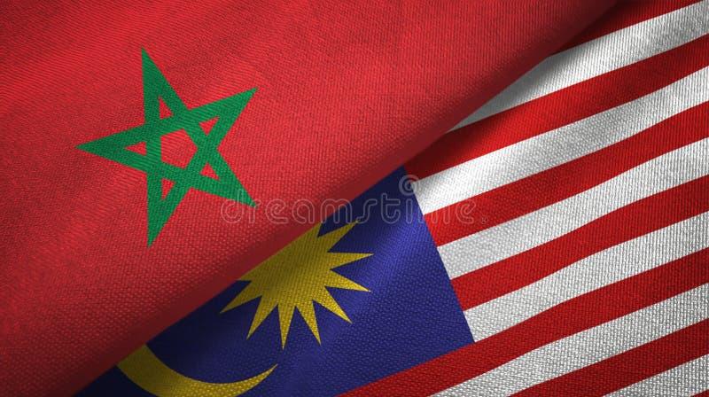 Torkduk för Marocko och Malaysia två flaggatextil, tygtextur stock illustrationer