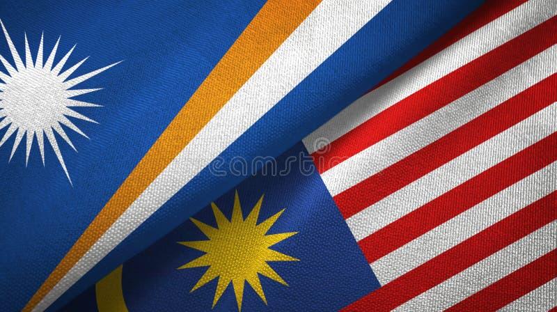 Torkduk för Marshall Islands och Malaysia två flaggatextil, tygtextur royaltyfri illustrationer