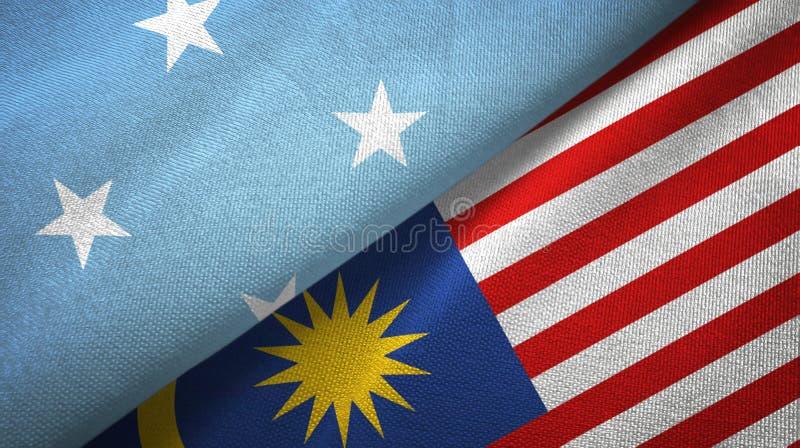 Torkduk för Mikronesien och Malaysia två flaggatextil, tygtextur vektor illustrationer