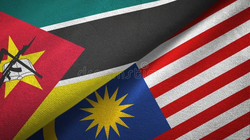 Torkduk för Mocambique och Malaysia två flaggatextil, tygtextur vektor illustrationer