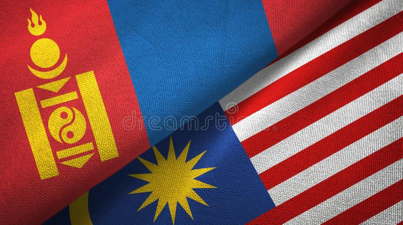 Torkduk för Mongoliet och Malaysia två flaggatextil, tygtextur stock illustrationer