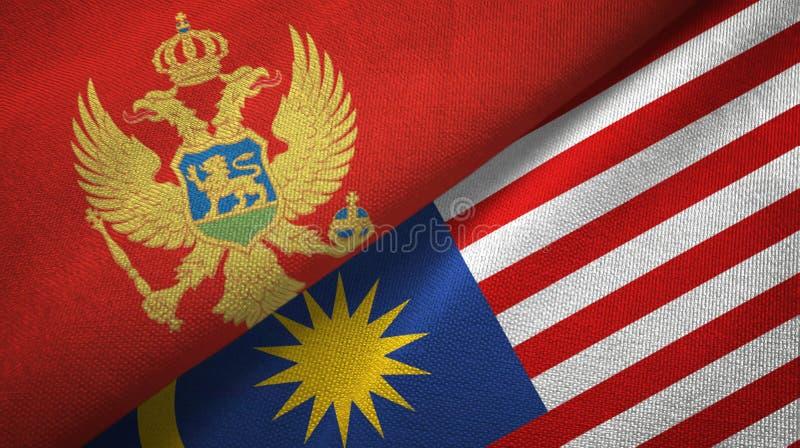 Torkduk för Montenegro och Malaysia två flaggatextil, tygtextur stock illustrationer