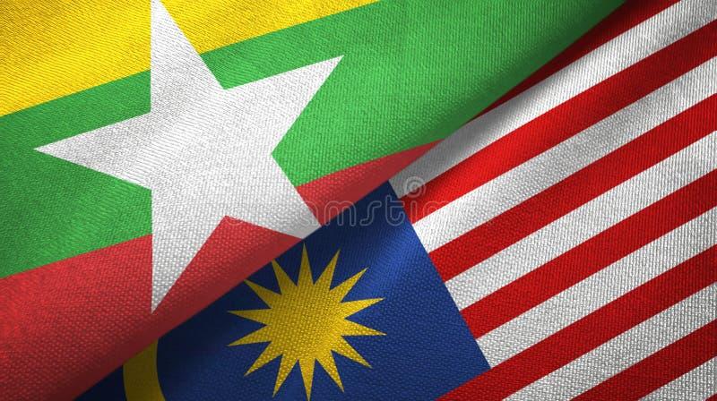 Torkduk för Myanmar och Malaysia två flaggatextil, tygtextur vektor illustrationer