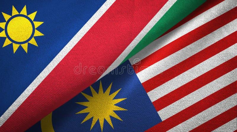 Torkduk för Namibia och Malaysia två flaggatextil, tygtextur vektor illustrationer